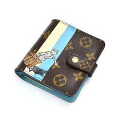 Louis Vuitton Compact Zip Groom Blue Crossgrain Leather & Monogram Canvas Wallet LS605