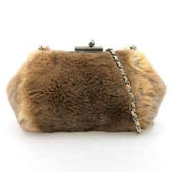 Auth Chanel Chanel Ori Rug Fur Purse Chain Shoulder Bag 9s Leather
