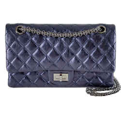 "Chanel 2.55 Reissue Metallic Quilted Distressed Navy/blue Leather Shoulder Bag 9.5""l X 3""w X 6.5""h"