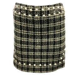 Chanel Black/White Studded Check Skirt