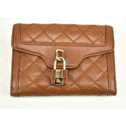 "Burberry: Light Brown, Quilted Leather & ""prorsum Knight"" Medium Wallet (rv)"