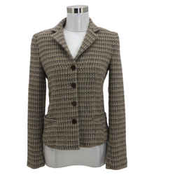 N909 Theory Designer Jacket Size 4 Small Knit Beige Blazer Button Front