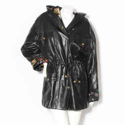 Chanel Black Leather Quilted Parka Coat with Hood