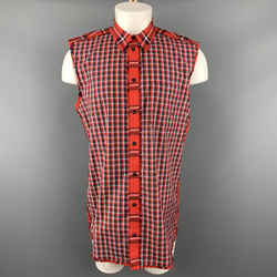 Givenchy Size M Red & Black Plaid Cotton Button Up Sleeveless