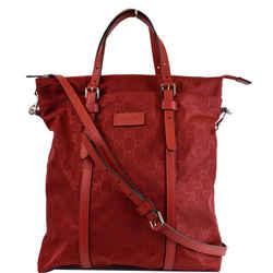 GUCCI  GG Medium Monogram Nylon Tote Shoulder Bag Red 510333