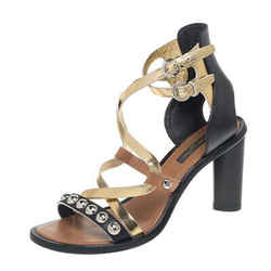 Louis Vuitton Black/Gold Leather Strappy Sandals Size 38