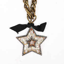 Lanvin Altair Star Brooch Gold Tone Crystal Necklace