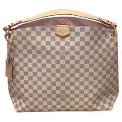 Louis Vuitton Graceful Mm Damier Azur / Rose Ballerine Canvas Shoulder Bag