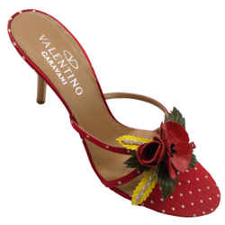 Valentino Red Polka Dotted Satin Sandals