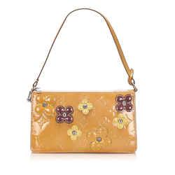 Orange Louis Vuitton Vernis Lexington Fleurs Pochette Bag