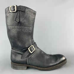 Paul Smith Size 10.5 Charcoal Contrast Stitch Leather Belt Strap Biker Boots