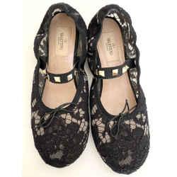 Valentino Black Rockstud Lace Ballet Flats Size 37