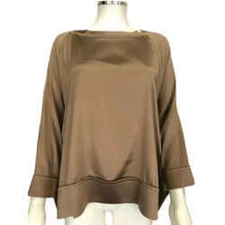 Brunello Cicinelli Gold Silk Long Sleeve Raglan Blouse Size Xl