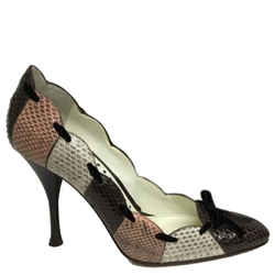 Saint Laurent Brown Cream And Rose Snakeskin With Velvet Bows Pumps Size: Eu 37 (approx. Us 7) Regular (m, B) Item #: 24184589