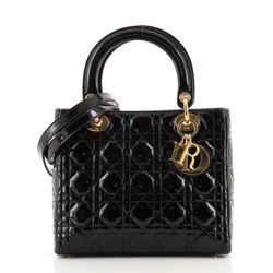Vintage Lady Dior Bag Cannage Quilt Patent Medium