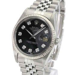 Rolex Men's Datejust Stainless Steel Black Dial 18K Gold Fluted Bezel 36mm Watch