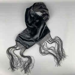 Yves Saint Laurent Black Velvet Fringe Ysl Neck Scarf