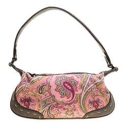 Escada Pink/Brown Printed Canvas and Leather Hobo