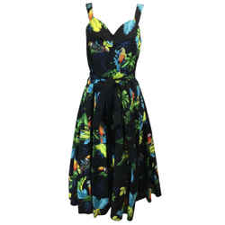 Marc Jacobs Black Multicolored Tropical Print Cocktail Dress