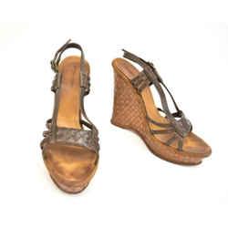 "Bottega Veneta: Dark Brown, ""intrecciato"" Leather Wedge Sandals/heels Sz: 8.5m"