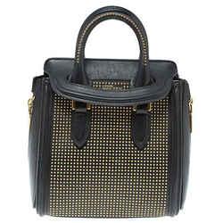 Alexander McQueen Black Leather Mini Studded Heroine Bag