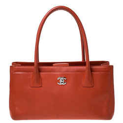 Chanel Orange Leather Cerf Shopping Tote