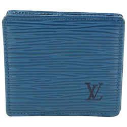 Louis Vuitton Blue Epi Leather Toledo Collapsible Coin Pouch Change Purse 507lvs68