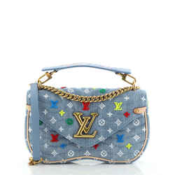 New Wave Chain Bag Monogram Embroidered Quilted Denim MM