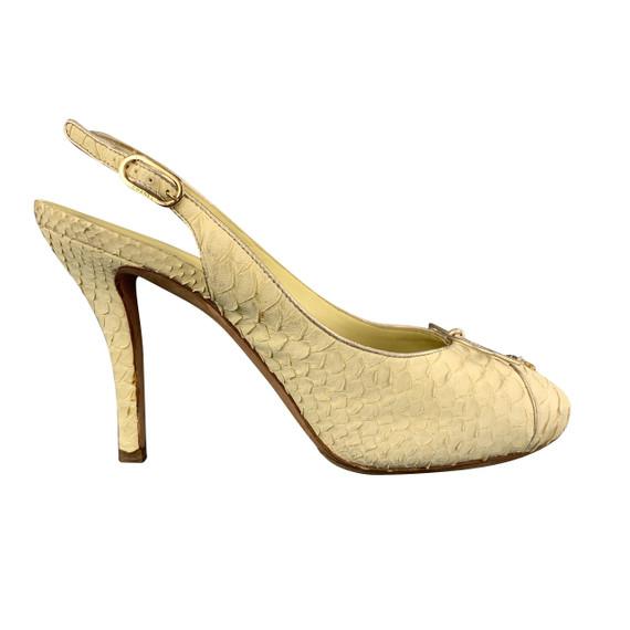 Chanel Size 8.5 Pastel Yellow Snake Skin Cc Slingback Pumps