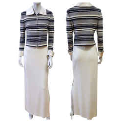 St. John Knits Evening Navy & White Striped Paillette Jacket & Long New Skirt 2
