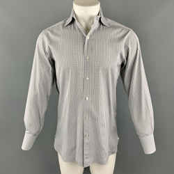 Tom Ford Size M Cotton Button Up Grey Plaid Spread Collar Long Sleeve Shirt