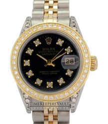 Rolex Lady Datejust Black Diamond Dial Diamond Lugs & Bezel 26mm Watch