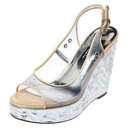Chanel PVC Metallic Silver Textured Wedge Heel Peep Toe Slingback Sandals Size