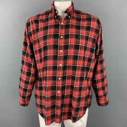 RALPH LAUREN Size L Red & Black Plaid Cotton Button Down Long Sleeve Shirt