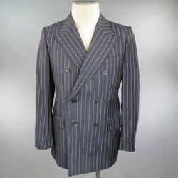 Prada Us 38 / It 48 Navy Pinstripe Peak Lapel Double Breasted Sport Coat