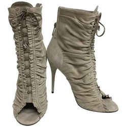 Balmain Beige Suede Lace Up Peep Boots/Booties Size: EU 39 (Approx. US 9) Regular (M, B) Item #: 24578441