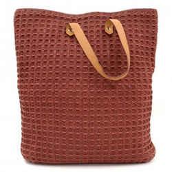 Hermes Ahmedabad Burgundy Cotton X Leather Large Tote Hand Bag Ha724