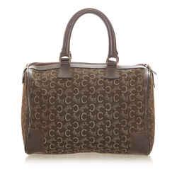 Vintage Authentic Celine Brown C Macadam Canvas Boston Bag France