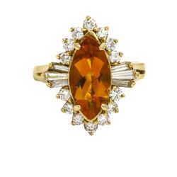 Medeira Citrine Diamond Cocktail Ring in 14k Yellow Gold