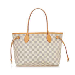 White Louis Vuitton Damier Azur Neverfull PM Bag
