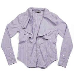 Ralph Lauren Black Label - Purple Top - Stripe Button Up Shirt Wit Ruffles Us 4
