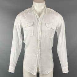 RALPH LAUREN Black Label  Size S White Linen Epaulettes Long Sleeve Shirt