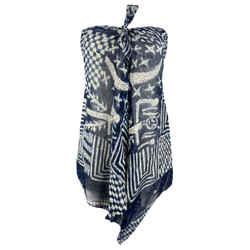 Ralph Lauren Size S Blue Abstract Silk Strapless Blouse