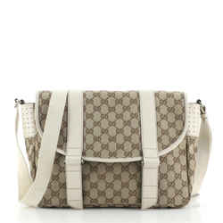 Double Belt Flap Messenger GG Canvas with Perforated Leather Medium