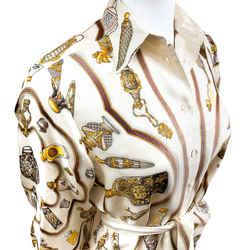 Hermes Silk Blouse Qu' Importe le Flacon Exclusif Label Sz 36