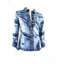 Nwt Proenza Schouler Denim Tie Die Blue Jean Button Down Top Shirt 6 $650