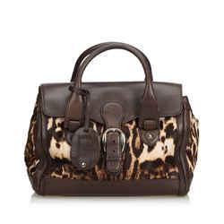 Brown Gucci Leopard Printed Pony Hair Handbag Bag