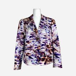 Purple Abstract Print Notch-lapel Blazer