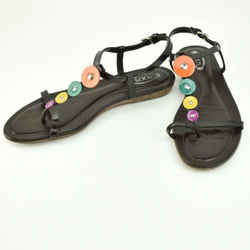 TOD'S: Dark Brown, Patent Leather & Logo Multicolor Sandals Sz: 8.5M