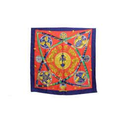 Authentic Hermes Silk Scarf Daimyo Princes du Soleil Levant Red Faconnet Vintage 90cm Carre